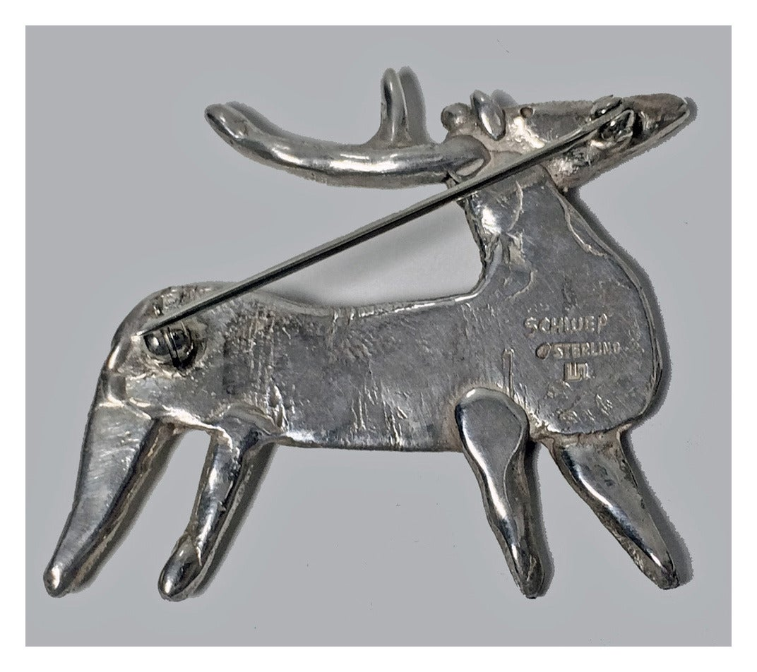Walter Schluep Sterling Silver Reindeer Brooch Pin 3