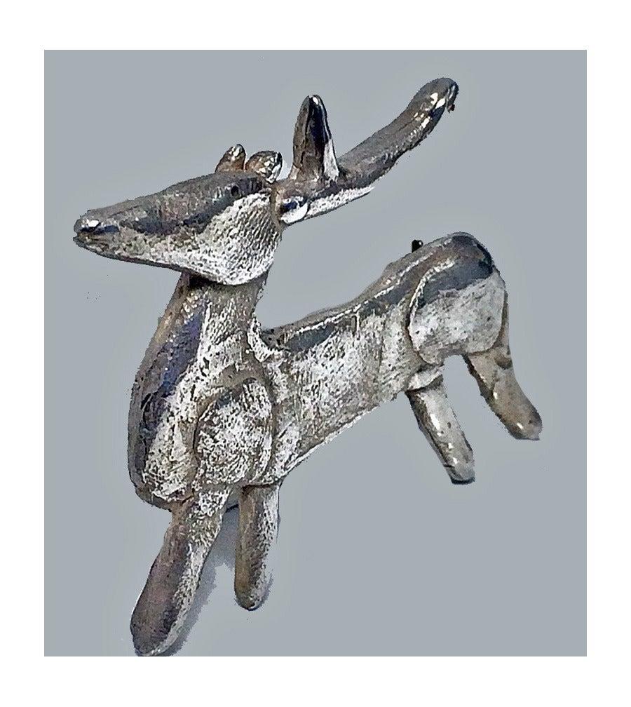 Walter Schluep Sterling Silver Reindeer Brooch Pin 2