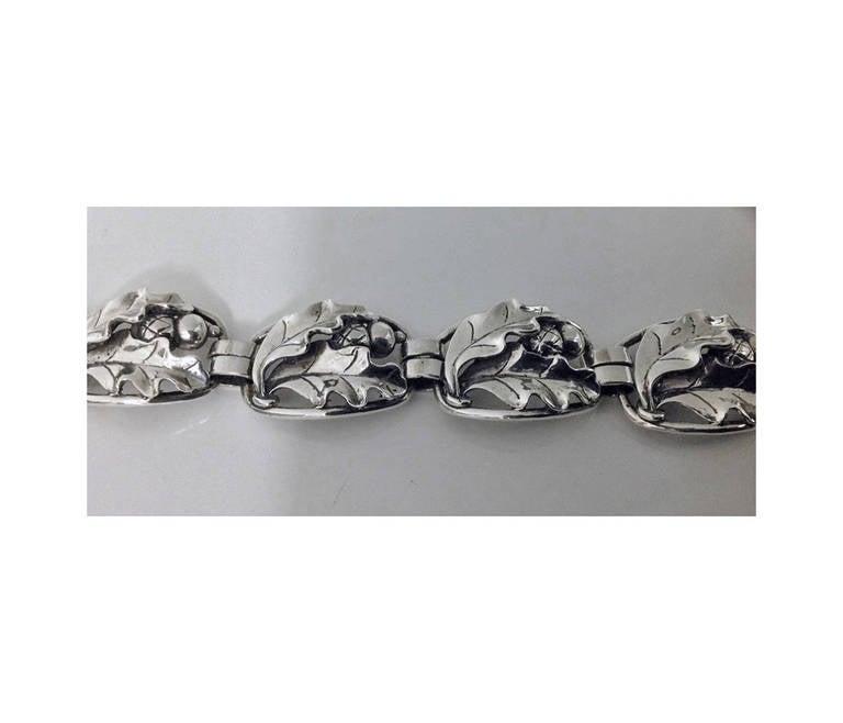 Georg Jensen Sterling Acorn Oak Leaf Bracelet C 1948 The Hand Wrought Open