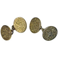 Antique English Double SIded Gold Cufflinks