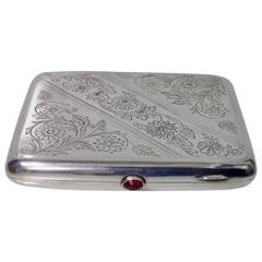 Russian Silver Cigarette Case Moscow 1927-54