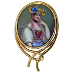 Late 19th Century Gold Limoges Brooch