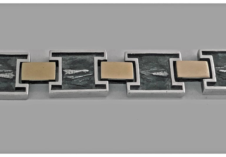 Women's or Men's 1960s Modernist 18 Karat and Sterling Reversible Handmade Bracelet For Sale