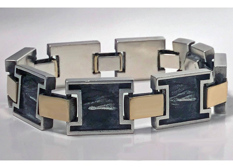 1960s Modernist 18 Karat and Sterling Reversible Handmade Bracelet In Good Condition For Sale In Toronto, ON