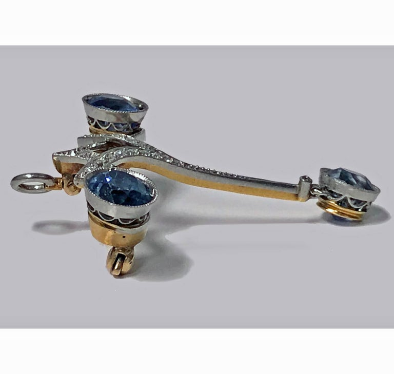 Edwardian Sapphire Diamond Platinum Pendant Brooch In Good Condition For Sale In Toronto, ON