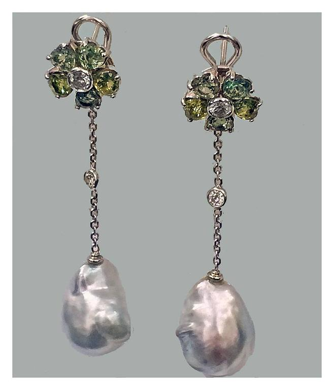 Baroque Pearl Diamond Green Sapphire Earrings In Excellent Condition For Sale In Toronto, ON