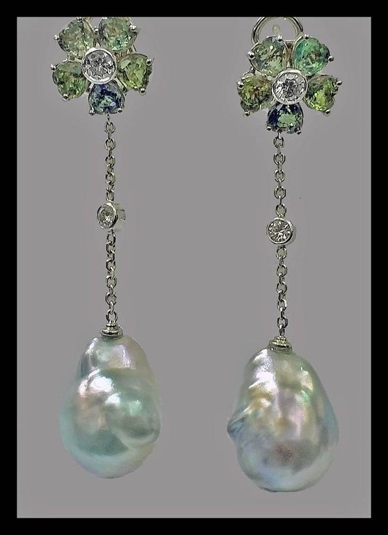 Baroque Pearl Diamond Green Sapphire Earrings For Sale 1