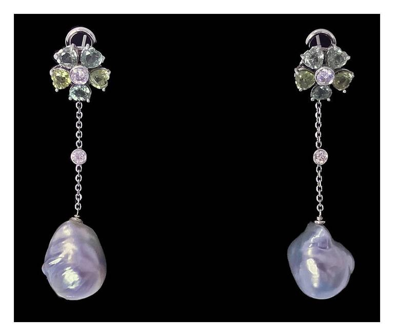 Baroque Pearl Diamond Green Sapphire Earrings For Sale 2
