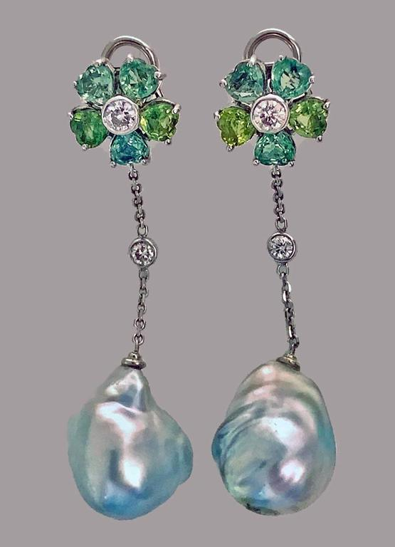 Baroque Pearl Diamond Green Sapphire Earrings For Sale 3