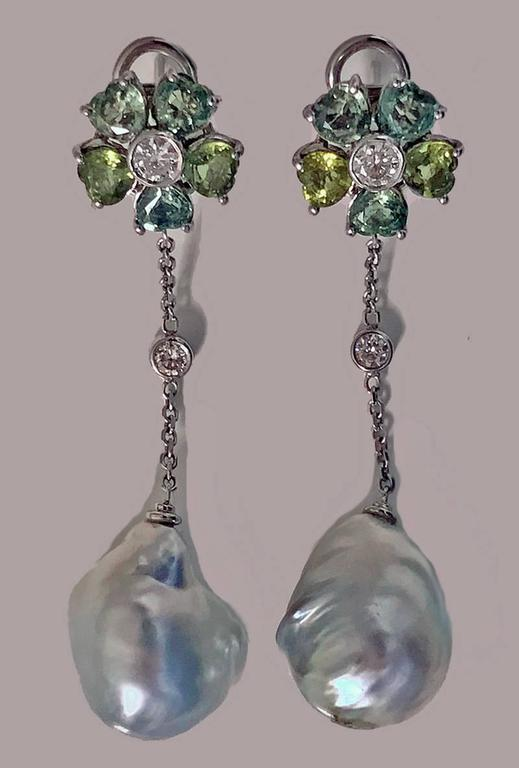 Baroque Pearl Diamond Green Sapphire Earrings For Sale 4