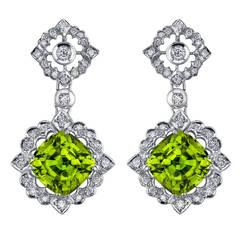 Peridot Diamond Gold Earrings 12.89 Carat