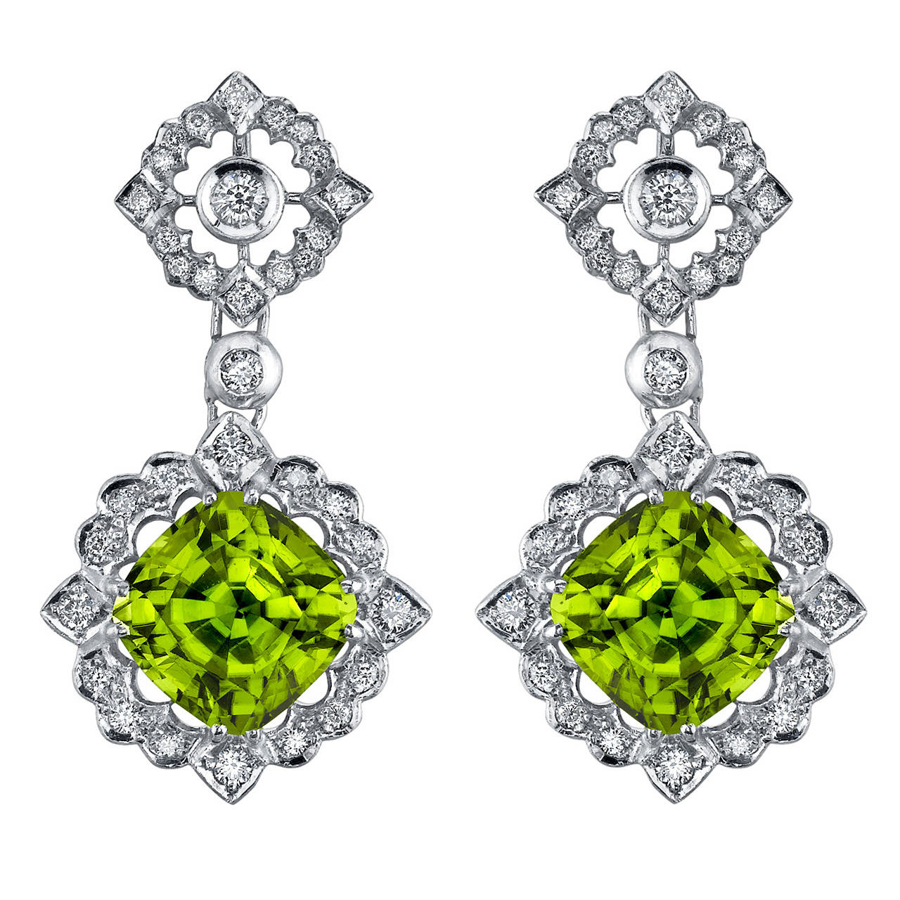 12.89 Carat Fine Peridot Diamond Gold Earrings For Sale