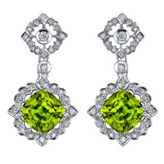 Peridot Earrings Diamond White Gold Earrings 12.89 Carat