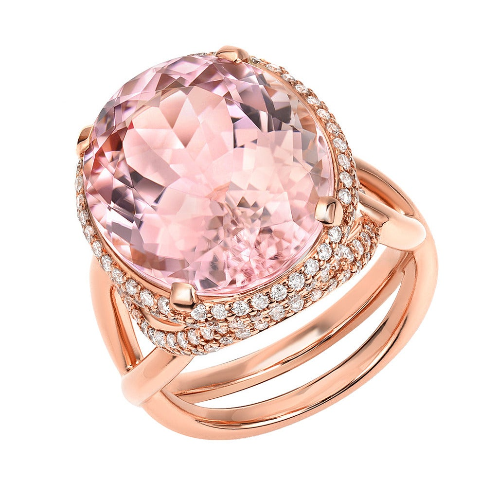 Highly Prized Baby Pink Tourmaline Diamond Gold Cocktail Ring For Sale