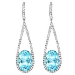 Vibrant Oval Aquamarine Diamond Gold Earrings