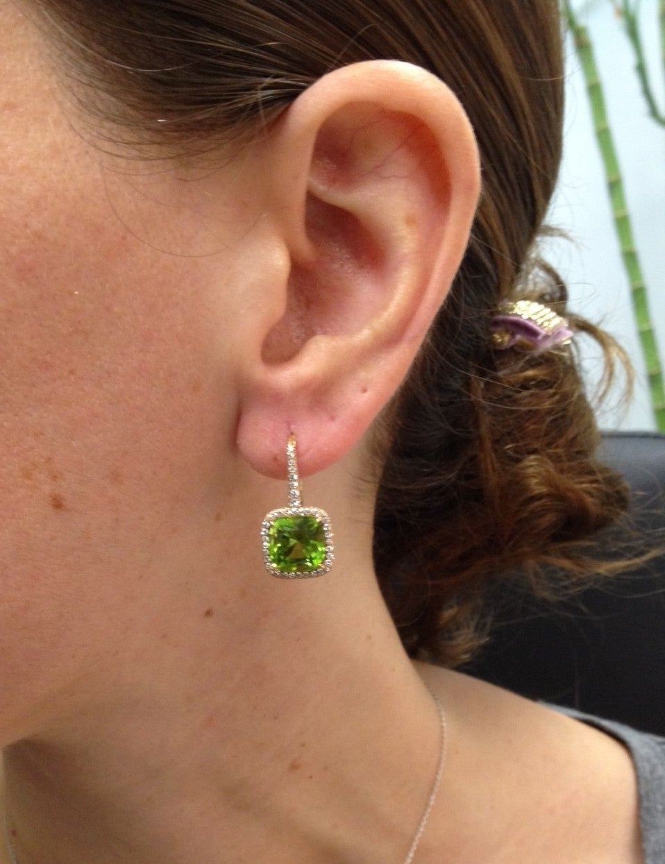 Tamir 9.46 Carat Peridot Diamond Rose Gold Lever Back Earrings 2