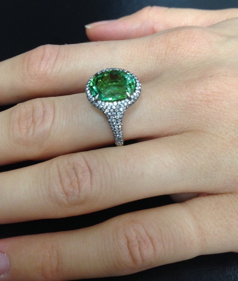 Women's Tamir 5.40 Carat Mint Green Tourmaline Diamond Ring For Sale