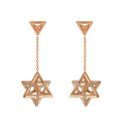 Rose Gold Earrings Merkaba Star