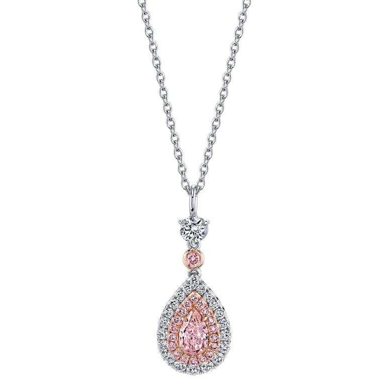 GIA Certified 0.52 Carat Fancy Light Orangy Pink Diamond Pendant 1