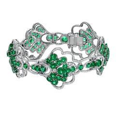 Heirloom Quality Colombian Emerald Diamond Platinum Bracelet
