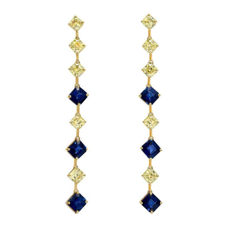 Royal Blue Sapphire Asscher Cut Fancy Yellow Diamond Gold Earrings