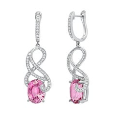 Pink Spinel Earrings 7.00 Carats Ovals