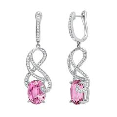 Unique Pink Spinel Diamond White Gold Lever Back Earrings