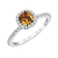 0.63 Carat GIA Certified Fancy Deep Brownish Yellowish Orange Diamond Ring