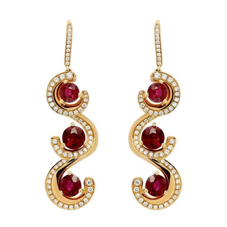 7.19 Carat Burma Ruby Diamond Gold Drop Earrings