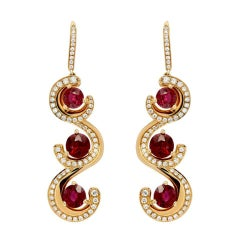 Burma Ruby Earrings 7.19 Carats
