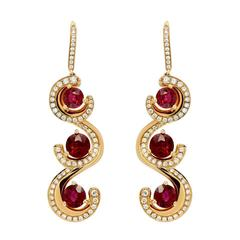 7.19 Carat Burma Ruby Diamond Gold Drop Earrings