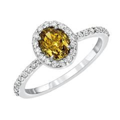 0.85 Carat GIA Certified Fancy Deep Brownish Greenish Yellow Diamond Oval Ring