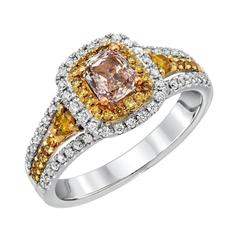0.43 Carat GIA Certified Light Brown Pink Radiant Diamond Ring