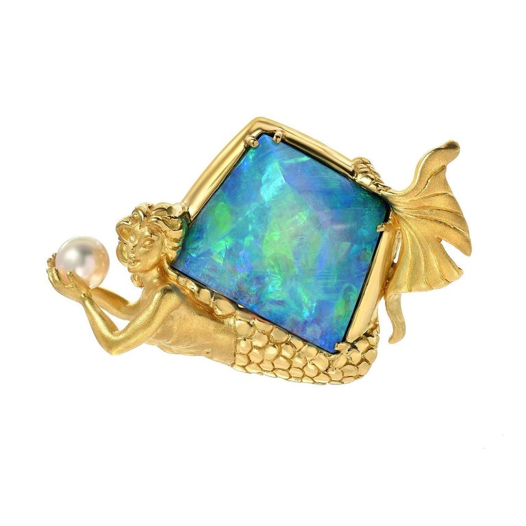 Extraordinary 26.30 Carat Opal Akoya Pearl Gold Brooch Object of Art