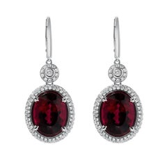 Superior 11.64 Carat Rubellite Tourmaline Diamond White Gold Lever Back Earrings