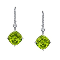 Peridot Diamond White Gold Lever Back Drop Earrings 12.32 Carat