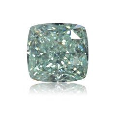 GIA Certified 2.04 Carat Fancy Blue Green VS2 Cushion Diamond