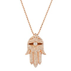 Hamsa Diamond Rose Gold Pendant