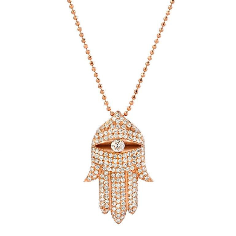 Hamsa diamond rose gold pendant for sale at 1stdibs hamsa diamond rose gold pendant 1 mozeypictures Gallery