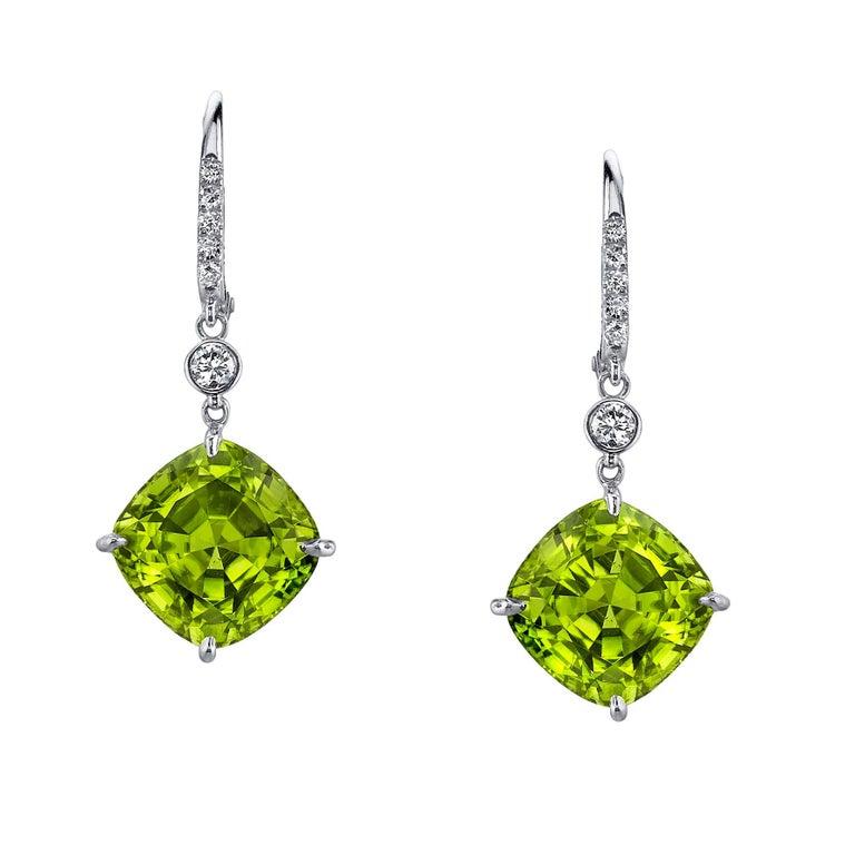 Modern Peridot Diamond White Gold Lever Back Drop Earrings 12 32 Carat For