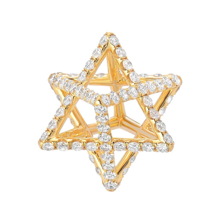 Merkaba Star Diamond Yellow Gold Pendant Necklace In New Condition For Sale In Beverly Hills, CA