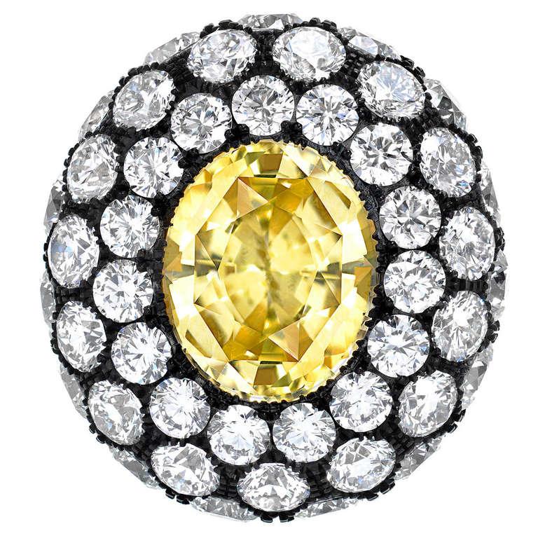 Tamir Unheated 5.56 Carat Yellow Sapphire Diamond Ring
