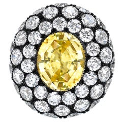 Natural Yellow Sapphire Ring Oval 5.56 Carats AGTA Certified Unheated