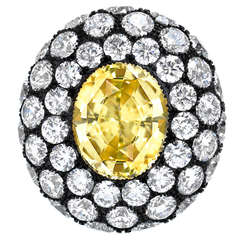 Unheated Yellow Sapphire Diamond Ring AGTA Certified 5.56 Carat Oval Tamir