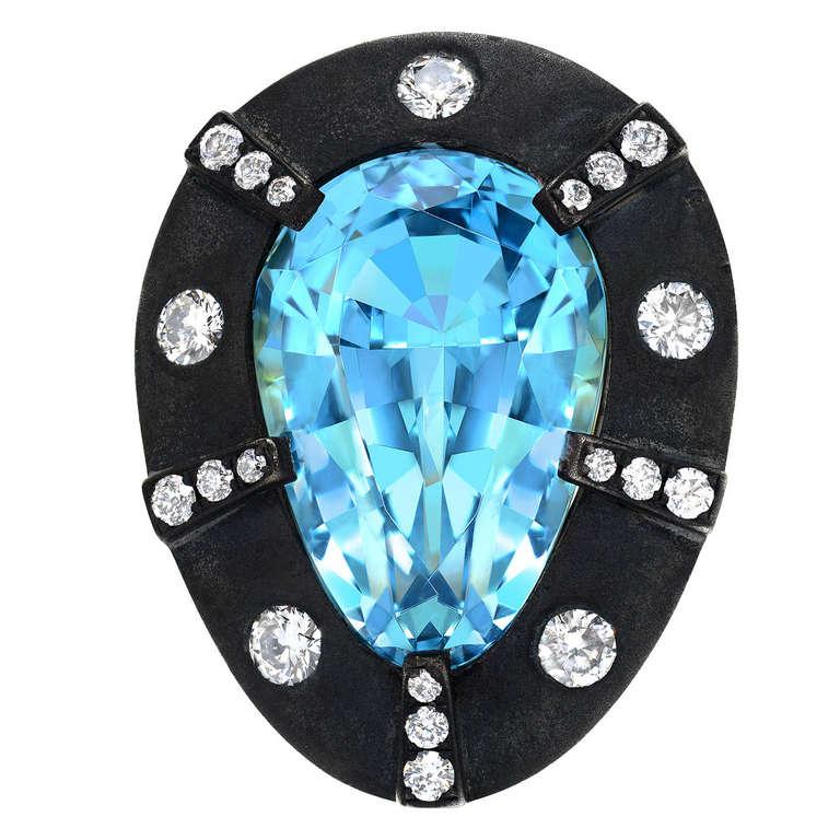 Aquamarine Diamond Gold Ring 13.70 Carat Pear Shape Tamir For Sale
