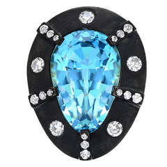 Tamir 13.70 Carat Natural Aquamarine Diamond Gold Ring