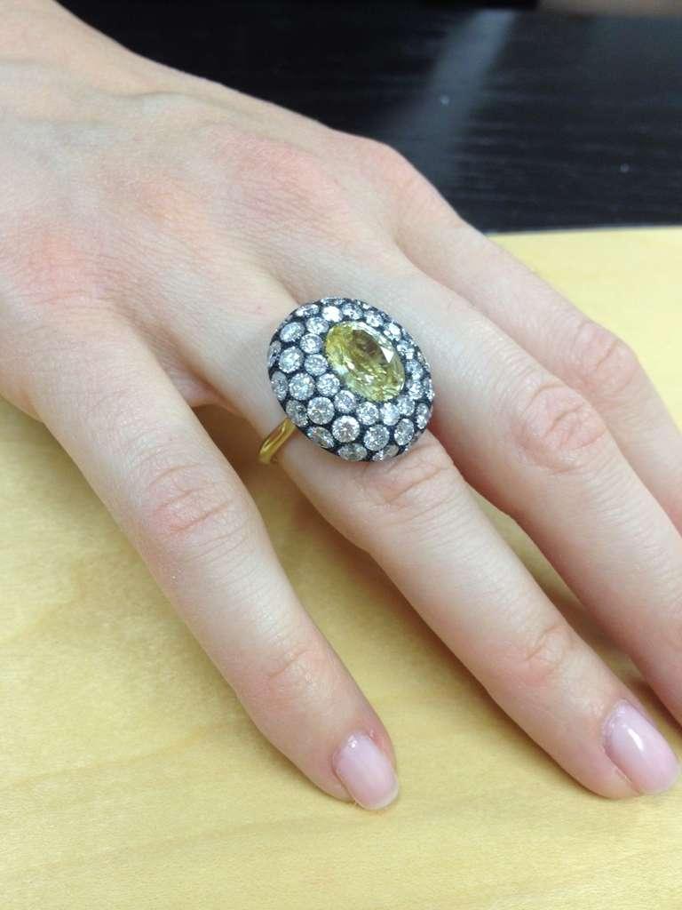 Tamir Unheated 5.56 Carat Yellow Sapphire Diamond Ring 3