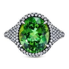 Tamir Vibrant Mint Green Tourmaline Diamond Ring
