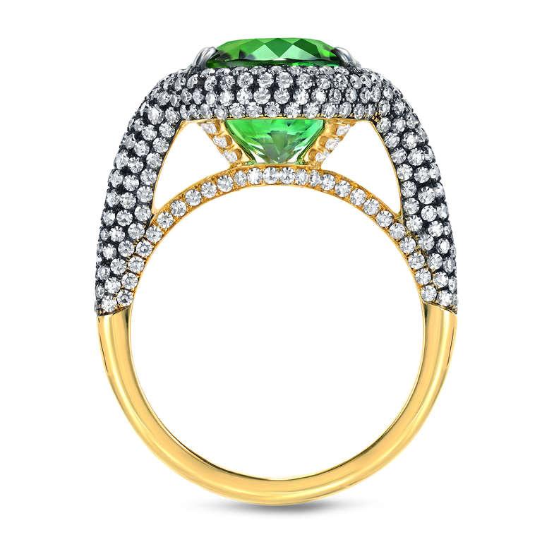 Oval Cut Tamir 5.40 Carat Mint Green Tourmaline Diamond Ring For Sale