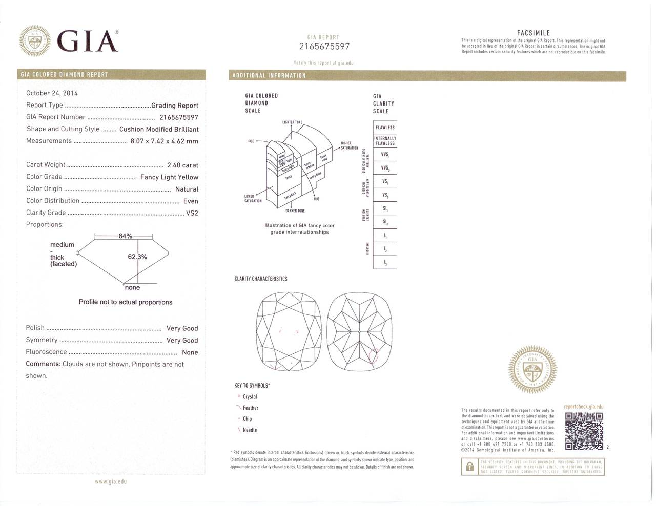 Cushion Cut Yellow Diamond Ring 2.40 Carat GIA Certified For Sale